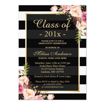 graduation Class of 2017 Graduation Classy Floral Stripes Card
