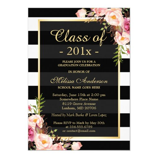 Class of 2017 Graduation Classy Floral Stripes