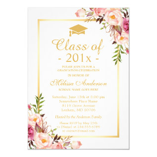 Class of 2017 Graduation Elegant Chic Floral Gold Card at Zazzle