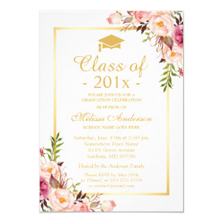 Class of 2017 Graduation Elegant Chic Floral Gold Card