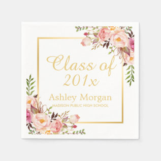 Class Of 2017 Graduation Elegant Gold Chic Floral Napkin at Zazzle