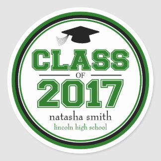 Class Of 2017 Graduation Favor (Green / Black) Classic Round Sticker