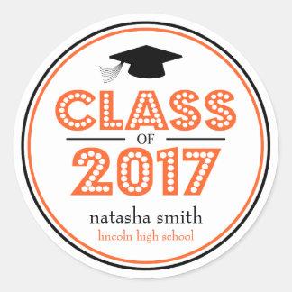 Class Of 2017 Graduation Favor (Orange / Black) Classic Round Sticker