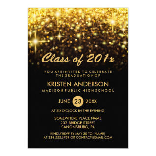 Class of 2017 Graduation Gold Glitter Glam Sparkle Card at Zazzle