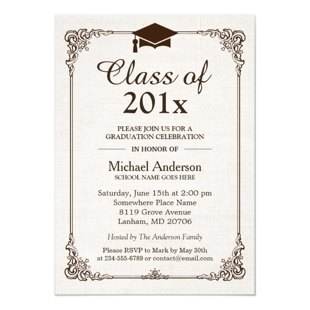 Class of 2017 Graduation Ivory Linen Vintage Frame Card