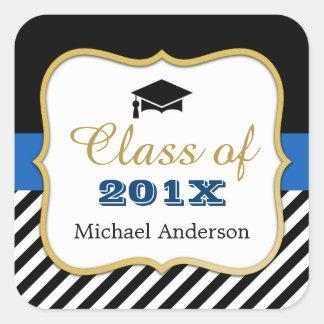 Class of 2017 Graduation Modern Gold Navy Stripes Square Sticker