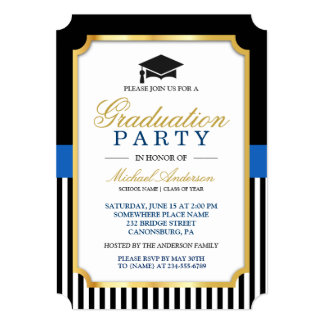 Class of 2017 Graduation Party Gold Ticket Stripes Card