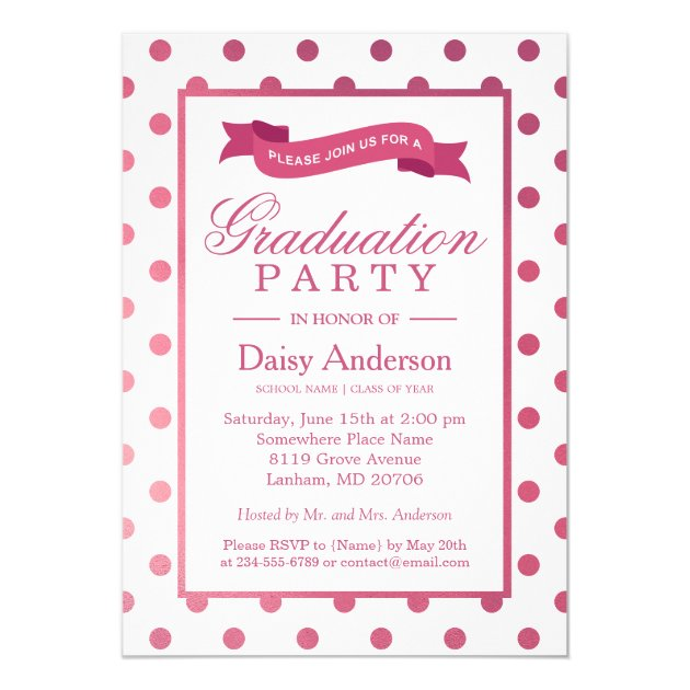 Class of 2017 Graduation Party Pink Polka Dots Card