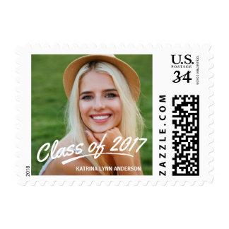 Class of 2017 Graduation Photo Brush Strokes Postage