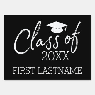 Class of 2017 Graduation - with Cap and Name Yard Sign