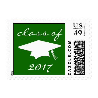 Class Of 2017 (Green Graduation Cap) Postage Stamp