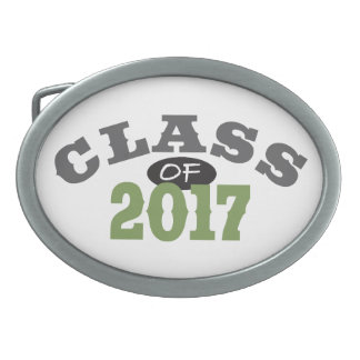 Class Of 2017 Green Oval Belt Buckle