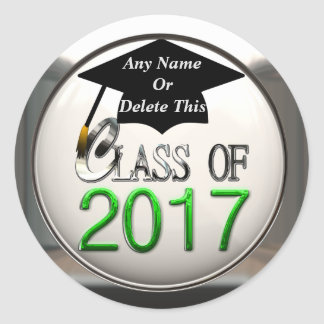 Class Of 2017 Green & Silver Graduation Stickers