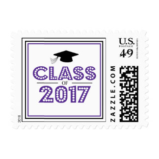 Class Of 2017 In Lights (Eggplant Purple / Black) Postage