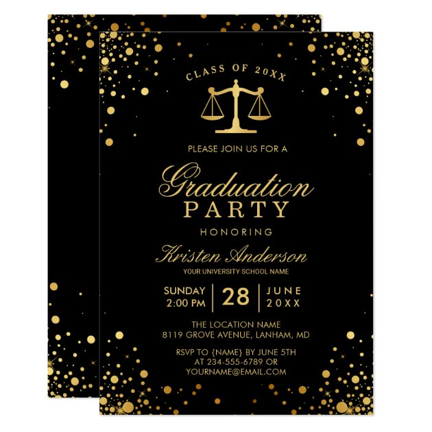 Class of 2017 Law School Graduate Graduation Party Card (front side)