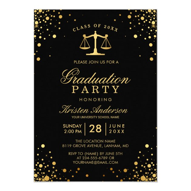 Class of 2017 Law School Graduate Graduation Party Card (back side)