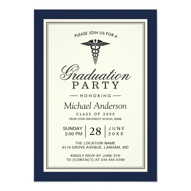 Class of 2017 Medical School Graduation Party Card (back side)
