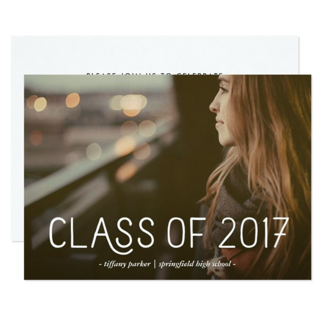 Class of 2017 | Modern Typography Photo Grad Party Card