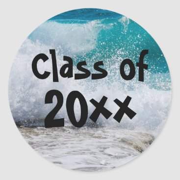 Beach Themed Class of 2017 Ocean Waves Surf Graduation Sticker