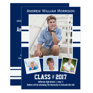 Class of 2017 Photo Collage Sport Graduation Party Card