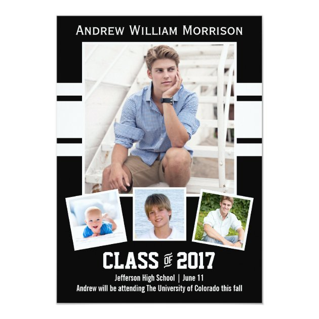 Class of 2017 Photo Collage Sport Graduation Party Card (back side)