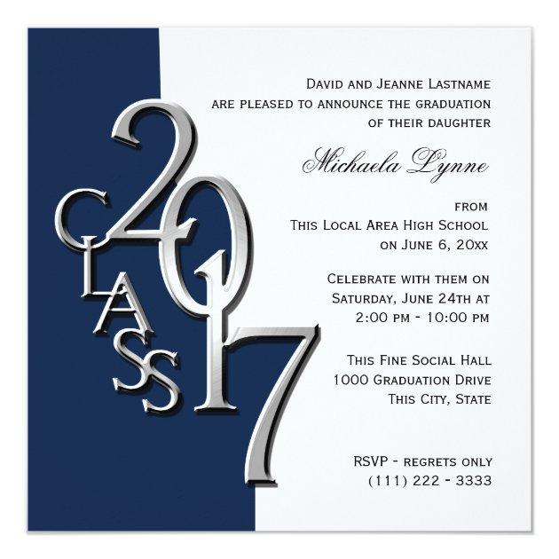 Class of 2017 Photo Graduation Blue Silver Card