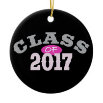 Class Of 2017 Pink Ceramic Ornament