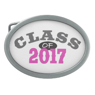 Class Of 2017 Pink Oval Belt Buckle