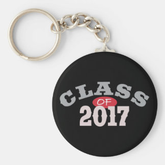 Class Of 2017 Red Basic Round Button Keychain