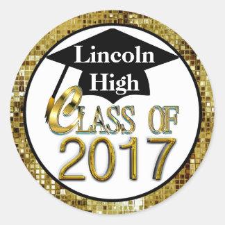 Class Of 2017 Sparkling Gold Graduation Seals Classic Round Sticker