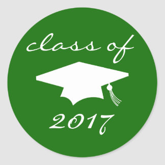 Class Of 2017 Sticker (Green Graduation Cap)