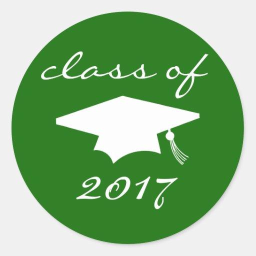 Class Of 2017 Sticker Green Graduation Cap