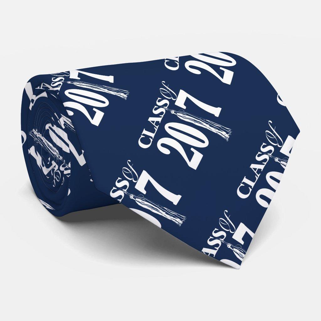 Class of 2017 Tassle Blue Graduation design Tie