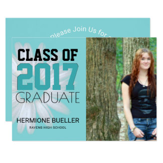 Class of 2017 Turquoise | Photo Graduation Party Card