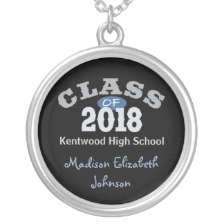 Class Of 2018 Blue Round Pendant Necklace