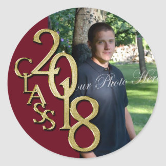 Class of 2018 Burgundy and Gold Graduation Classic Round Sticker