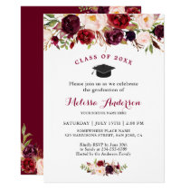 Class of 2018 Burgundy Red Floral Graduation Party Card