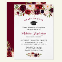 Class of 2018 Burgundy Red Floral Graduation Party Invitation