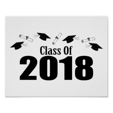 Art Themed Class Of 2018 Caps And Diplomas (Black) Poster