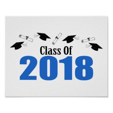 Art Themed Class Of 2018 Caps And Diplomas (Blue) Poster