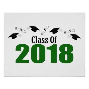 Art Themed Class Of 2018 Caps And Diplomas (Green) Poster