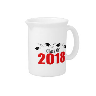Class Of 2018 Caps And Diplomas (Red) Drink Pitcher