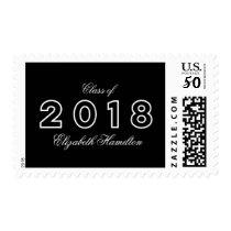 Class of 2018 Chic Black & White Graduation Postage
