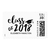 Class of 2018 Chic Script Black & White Graduation Postage