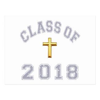 Class Of 2018 Christian Cross - Grey 2 Postcard