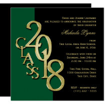 Class of 2018 Elegant Gold and Green Card