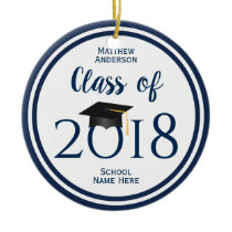 Class of 2018 Elegant Graduation Cap Graduate Ceramic Ornament