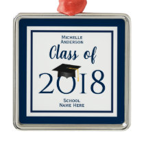 Class of 2018 Elegant Graduation Cap Graduate Metal Ornament