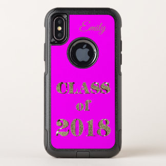 Class of 2018 Elegant Hot Pink and Gold Typography OtterBox Commuter iPhone X Case