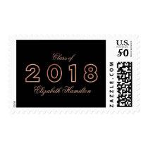Class of 2018 Faux Foil Rose Gold Graduation Postage